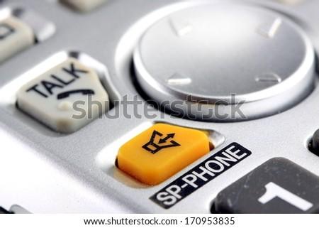 Silver cordless phone keypad closeup - stock photo