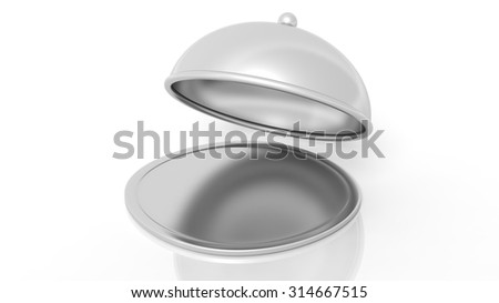 Silver covered dish,isolated on white background.