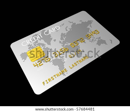 silver credit card isolated on black with clipping path - stock photo