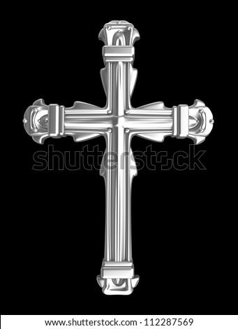 Silver cross over black - stock photo