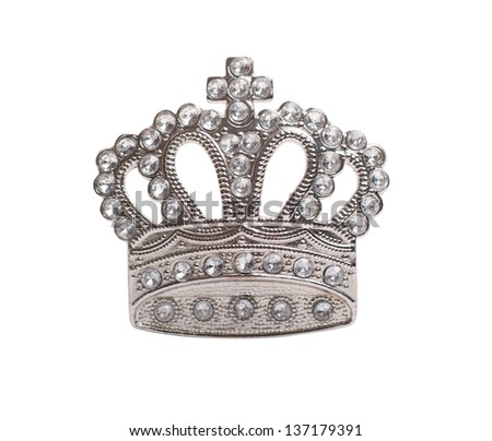 Silver crown isolated on white - stock photo