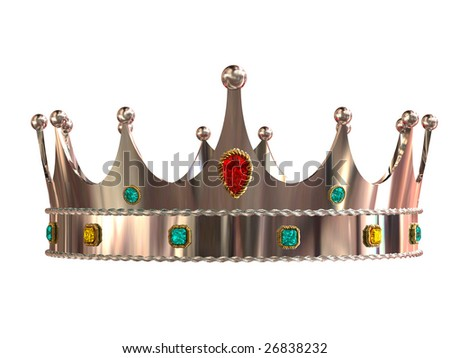 Silver crown isolated on white background - stock photo