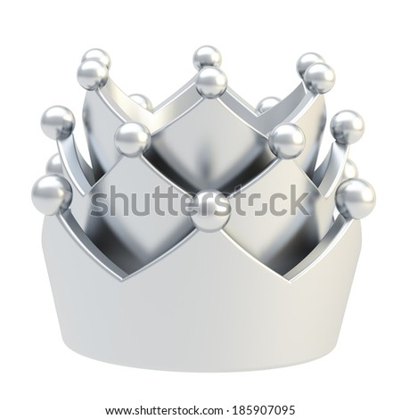 Silver crown isolated over white background - stock photo