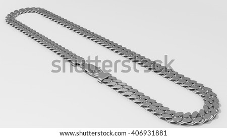Silver cuban link chain isolated on white background.3d model.