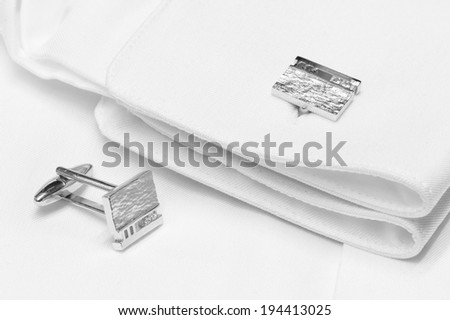 Silver cuff links - stock photo