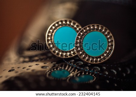 Silver cufflinks closeup. - stock photo