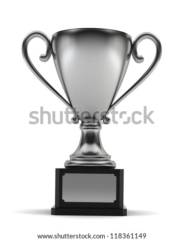 silver cup - 3d render on white - stock photo