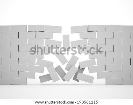 Silver demolition brick wall concept - stock photo