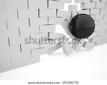 Silver demolition brick wall concept with black sphere - stock photo