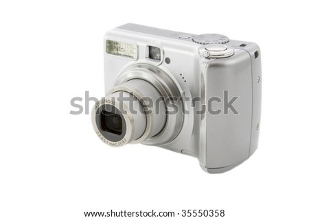 Silver digital camera isolated over white background