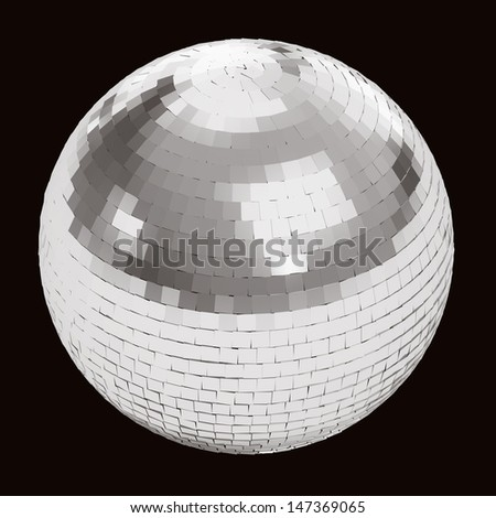 Silver disco ball on black background isolated with clipping path - stock photo