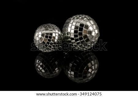 Silver disco mirror ball isolated on black background. New Year. Christmas - stock photo