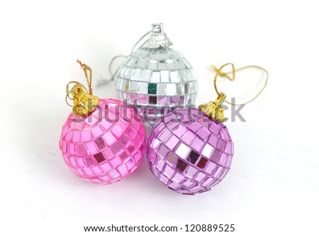 Silver disco mirror ball isolated on white background - stock photo