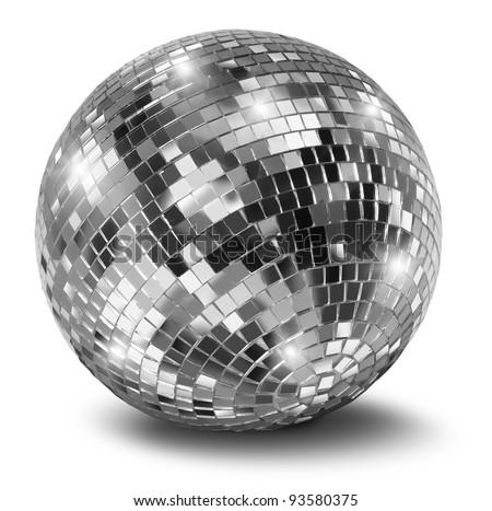 Silver disco mirror ball isolated on white background - stock photo