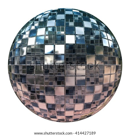 Silver disco mirror ball isolated on white background. 3D rendering.