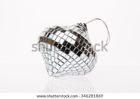 Silver disco mirror ball isolated on white background. New Year. Christmas - stock photo