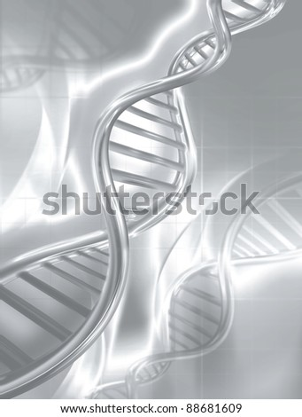 silver DNA strands on abstract medical background - stock photo