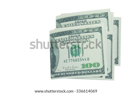 Silver dollar fold isolated white background.