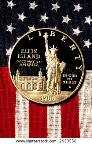 Silver Dollar on American Flag, 1986
