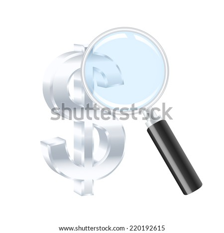Silver dollar sign and magnifying glass. 2d illustration - stock photo