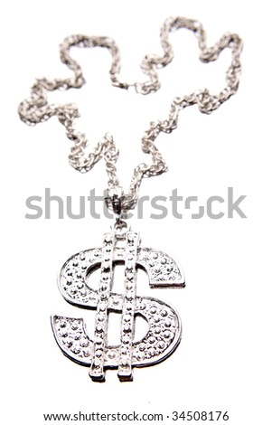 Silver dollar-symbol necklace on white - stock photo