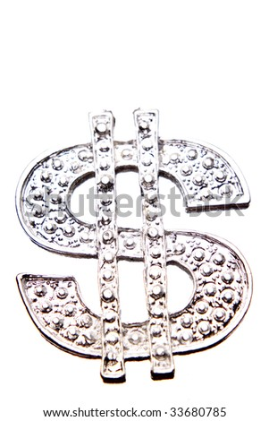 Silver dollar-symbol on white background - stock photo