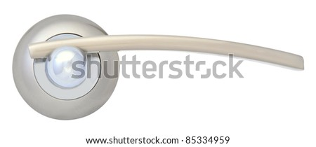Silver Door handle Gloss isolated on white - stock photo