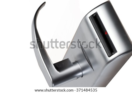 silver doorknob on white - stock photo