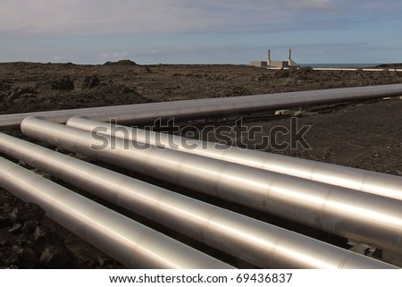 Silver duct, geothermal power plant, Iceland - stock photo