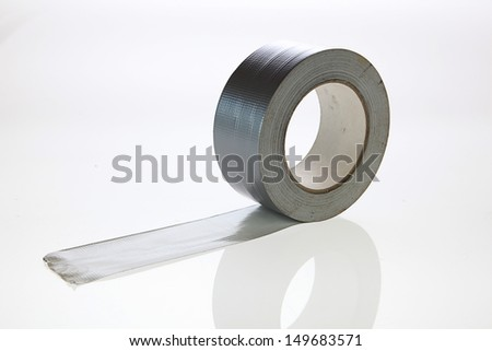 Silver duct tape on a white background - stock photo