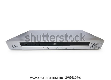 Silver DVD player isolated on the white - stock photo