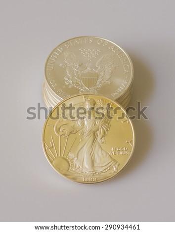 Silver Eagle coins/Financial Security - stock photo