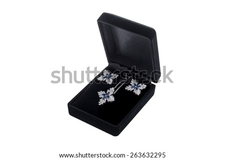 Silver earrings in black gift box on white background - stock photo