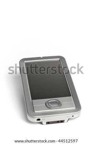 Silver Electronics PDA on solid white background with room for ad copy text