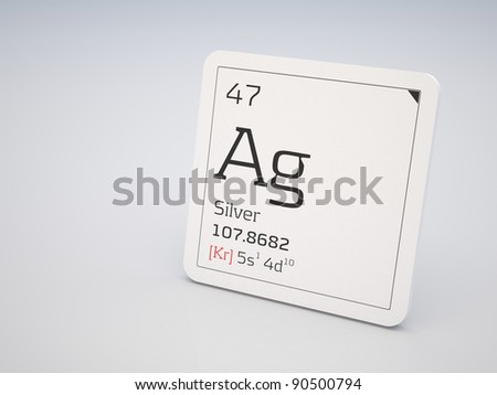 Silver - element of the periodic table - stock photo