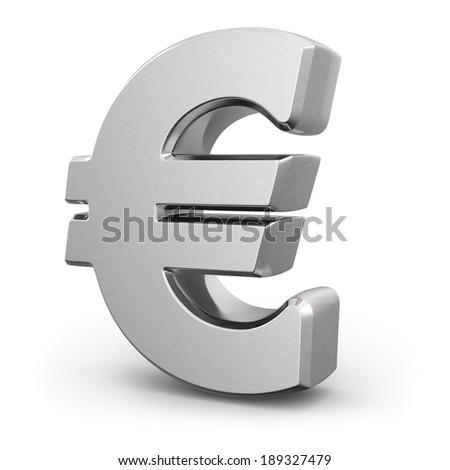 Silver euro currency sign on white isolated background. 3d - stock photo