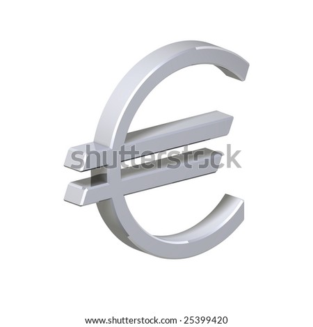 Silver Euro sign isolated on white. Computer generated 3D photo rendering.