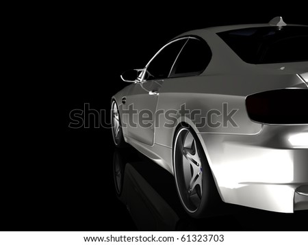 Silver Executive Business car - Stuidio Crop side View Isolated on Black - stock photo