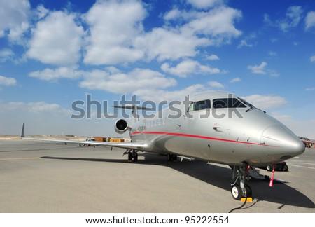 Silver Executive Jet - stock photo