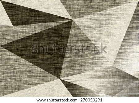 Silver fabric background, triangles, foil. Grey textile backdrop. Metallic canvas texture. Polygonal geometric background. Low poly style - stock photo