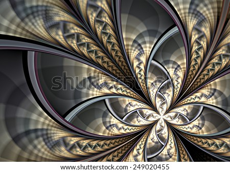 Silver fantasy artistic flower with lighting effect. Beautiful shiny futuristic background for wallpaper, interior, album, flyer cover, poster, booklet. Fractal artwork for creative design. - stock photo