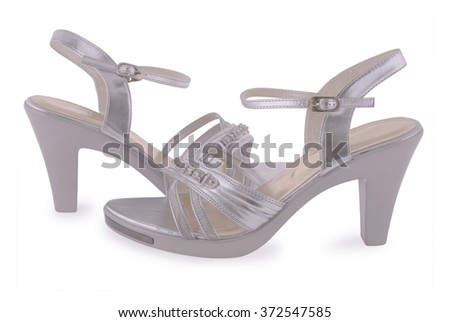 Silver female shoes isolated on white background - stock photo