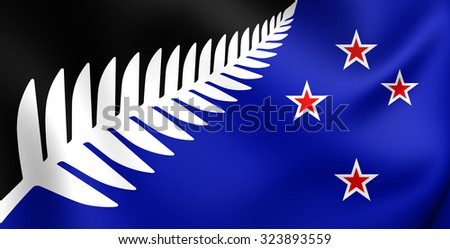 Silver Fern Flag, New Zealand. Close Up.    - stock photo