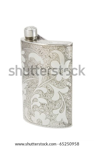 Silver  flask - stock photo