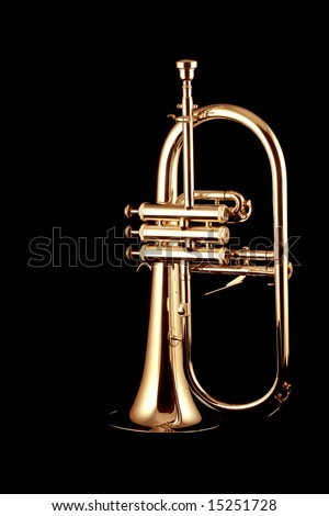 silver fluegelhorn with mouthpiece isolated on black