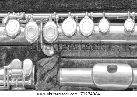 silver flute in carrying case - stock photo