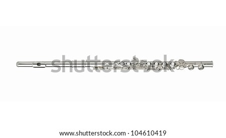 Silver flute on a white background - stock photo