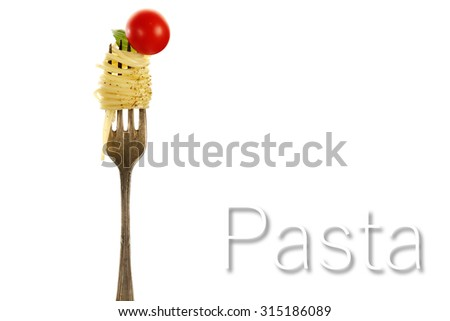 silver fork and tasty pasta  - stock photo