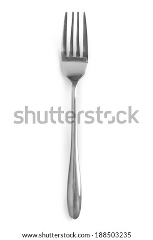 Silver fork on white background - stock photo