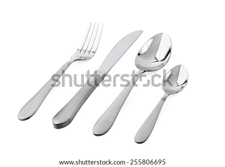 Silver fork, spoon and knife isolated on white  - stock photo